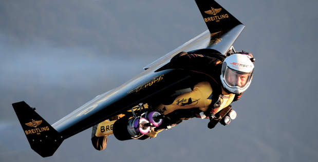 Jetman Performs with the Breitling Jet Team